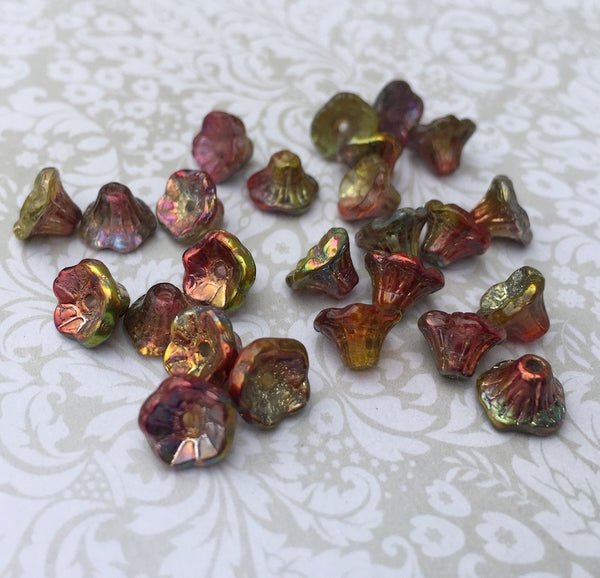 Crystal Magic Apple Small Flower Cup Glass Beads Pack of 50