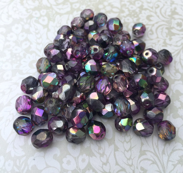 Crystal Magic Purple 6mm Fire Polished Beads Pack of 40