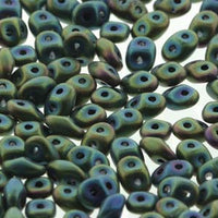 Matubo Superduo Beads Czech Glass Jet Green Iris Matte