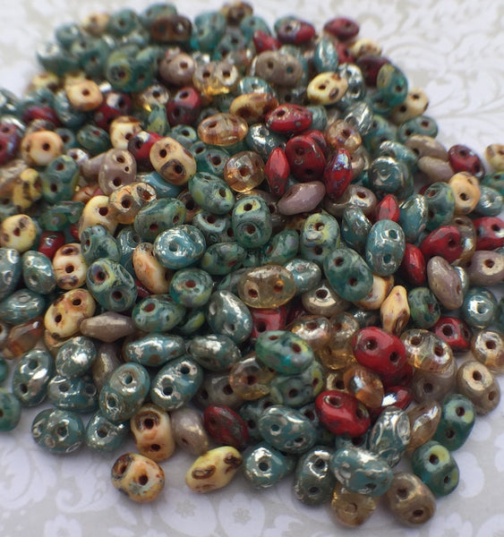 Streamy Mix Superduo Beads by Matubo Czech Glass 20 grams