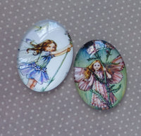 40mm Glass Fairy Cabochons Mix FB04 Pack of 2