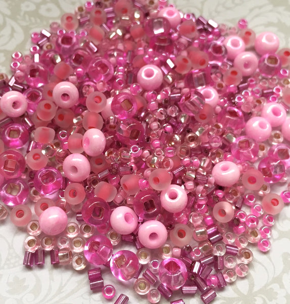 Glass Beads Mix Assorted Pink 25 grams