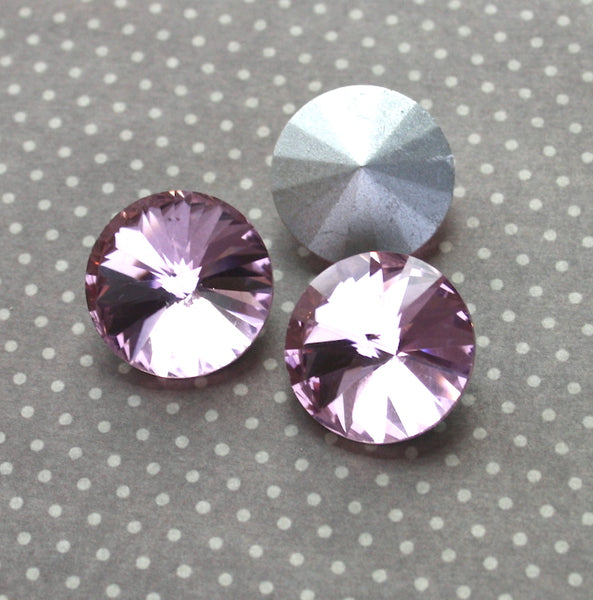 Pink Rivoli Faceted Glass Pointed Cabochons Pack of 2