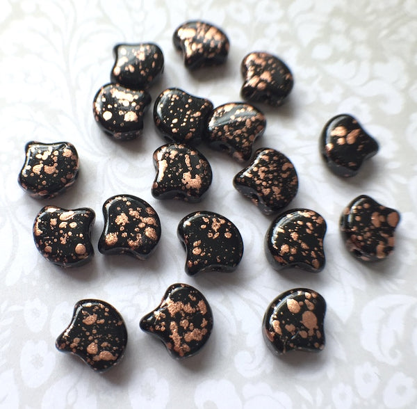 Jet Copper Splash Ginko Duo Beads by Matubo pack of 35 beads