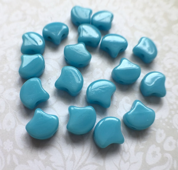 Turquoise Blue Ginko Duo Beads by Matubo pack of 35 beads