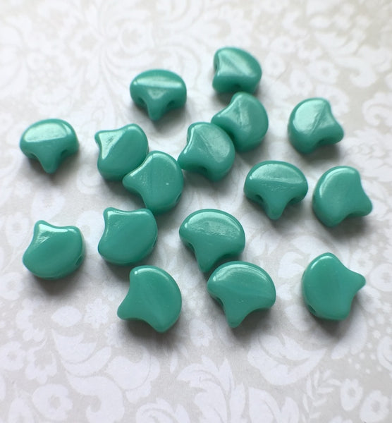Turquoise Green Ginko Duo Beads by Matubo pack of 35 beads