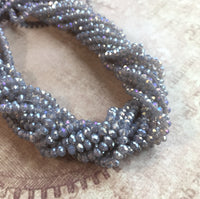 Grey Lustre Faceted Mini Rondelle Beads Strand of 150 Beads