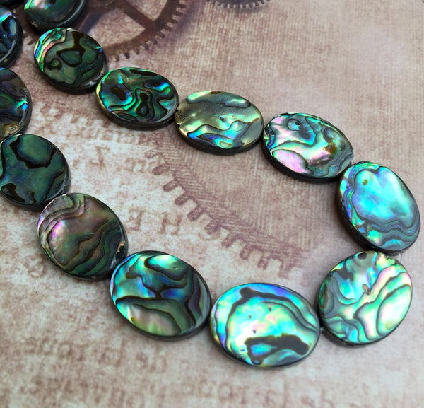 Rainbow Abalone Beads Paua Shell Beads Oval Pack of 6