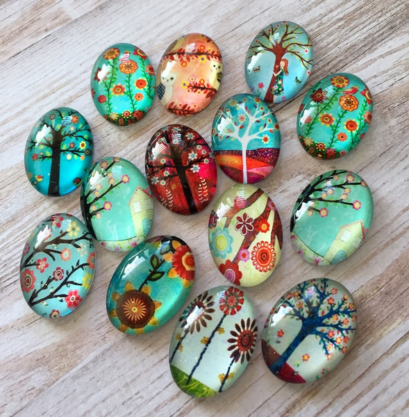 Glass Oval Cabochons Tree Pattern Mix Pack of 10