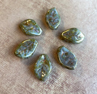 Pack of 25 Czech Glass Leaf Beads