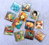 25mm Square Cabochons Elephant and Girls Mix Pack of 12