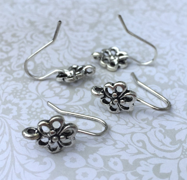 Flower Earwires Earring Components Antique Silver Pack of 10
