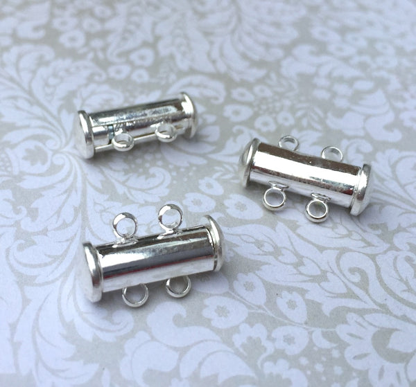 Silver Plated 2-strand Magnetic Slide Clasps Pack of 4