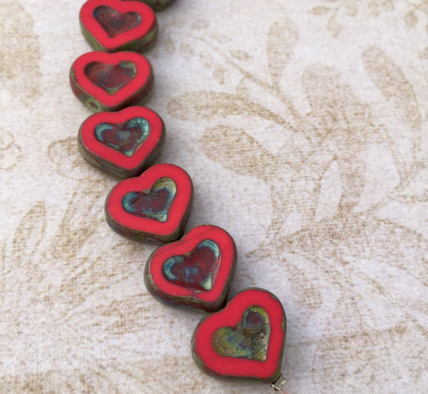 Glass Heart Beads Red Dark Travertine Pack of 6