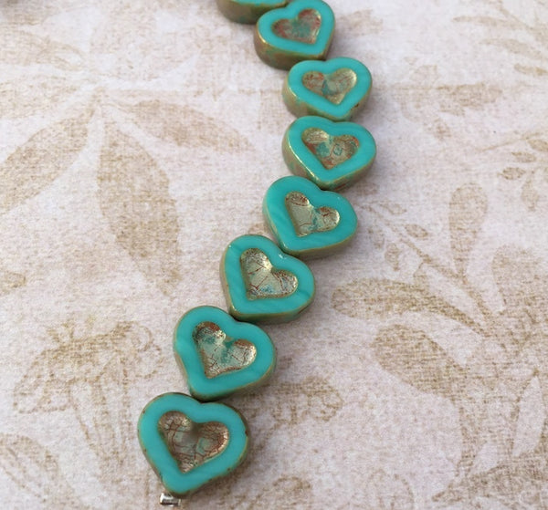 Glass Heart Beads Green Turquoise Picasso Pack of 6