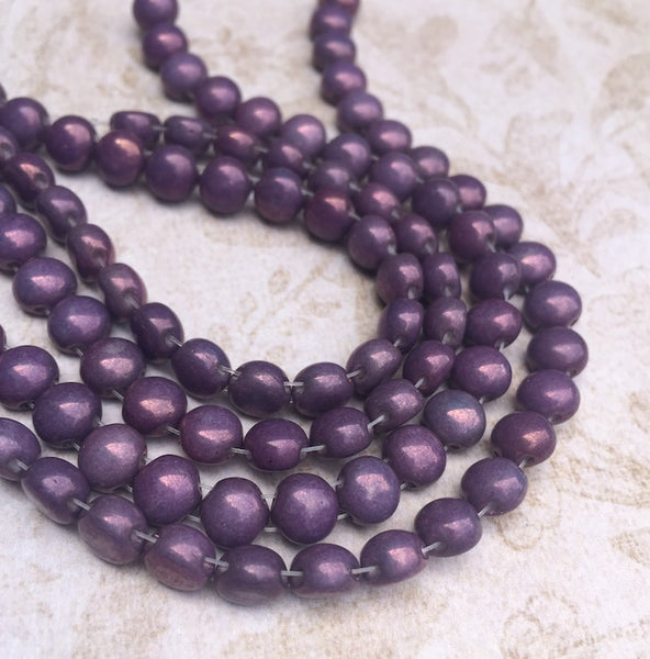 Two Holes Preciosa Candy Beads 6 mm Purple Vega 25 Beads