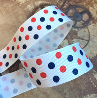 3 meters of 25 mm Grosgrain Spotty Ribbon Red and Blue