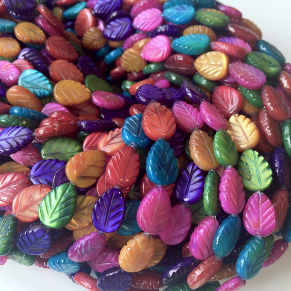 Dyed Shell Leaf Beads Mix Colours Strand of 31 Leaves
