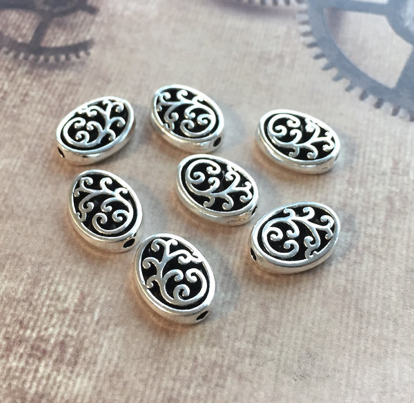 Oval Spacer Beads Antique Silver Carved Pack of 30