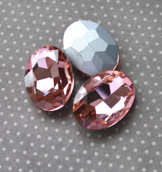 Faceted Glass Cabochons Pink Pack of 2
