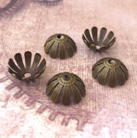 Floral Brass Bead Caps in Antique Bronze Pack of 20