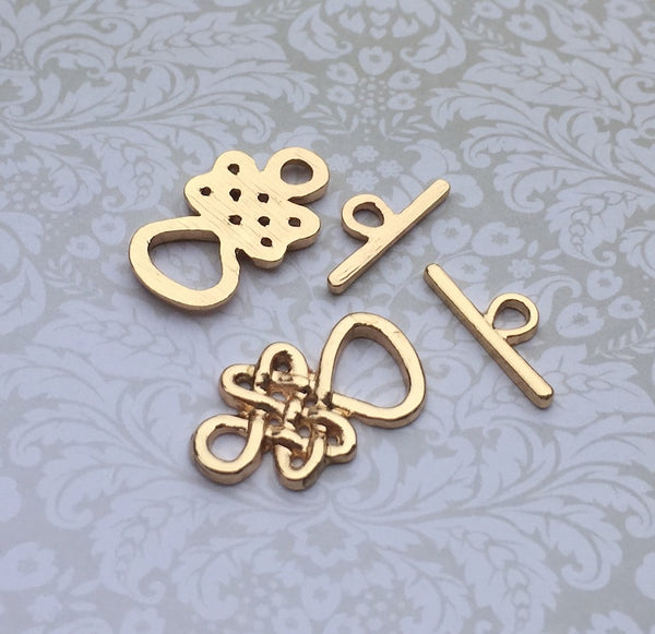 Celtic Knot Toggle Clasp Gold Plated - 2 sets
