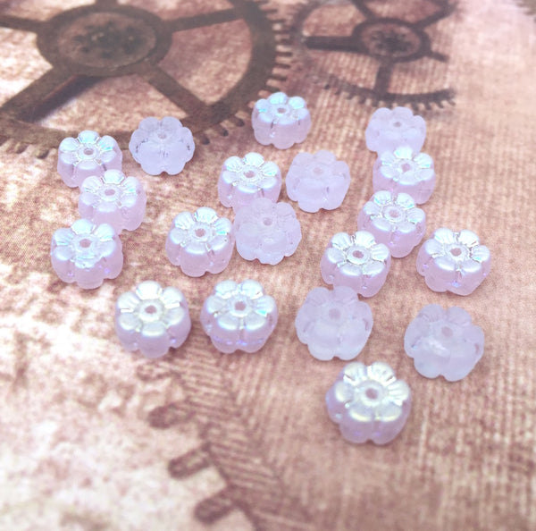 Czech Glass Pressed Floral Beads with Luster Pack of 50