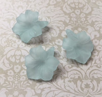 Light Blue Frosted Acrylic Flower Lucite Beads Pack of 10