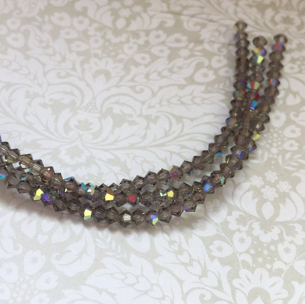 Black Diamond AB MC Bicone 3 mm Beads Strand of 42
