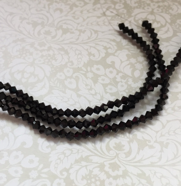 Jet MC Bicone 3 mm Beads Strand of 42