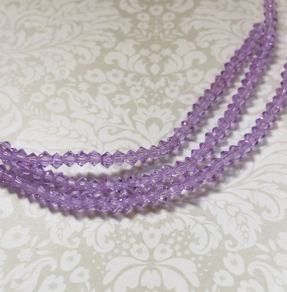 Violet MC Bicone 3 mm Beads Strand of 42
