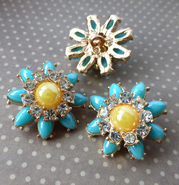 Pack of 2 - Gold and Blue Shank Button Flower