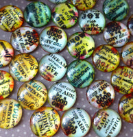 Pack of 20 - 16 mm Mix Pattern Cabochons with Message