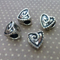 Swirly Heart Metal Beads with Large Hole European Style Beads Pack of 5
