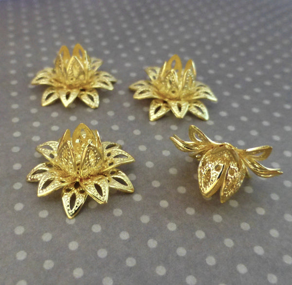 Pack of 10 - Brass Flower 3D Bead Caps Gold Tone