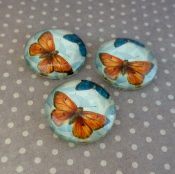 Pack of 20 - Glass Cabochon with Orange Butterfly