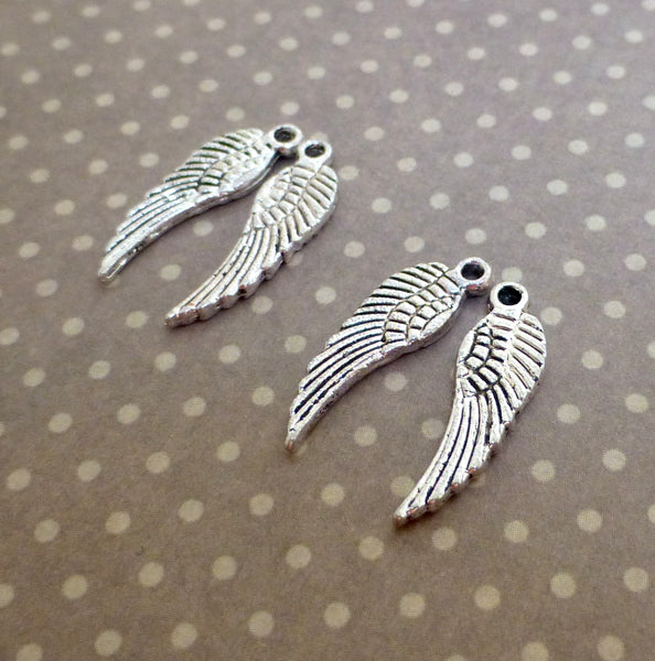 Mini Wings Charms Silver Colour Pack of 20