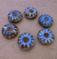 Pack of 20 Czech Glass Flat Round Beads Antique Blue
