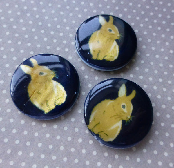 Shell Double Sided Beads with Rabbit Pack of 5