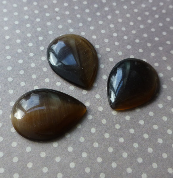 Cats Eye Cabochon Dark Brown Pack of 10