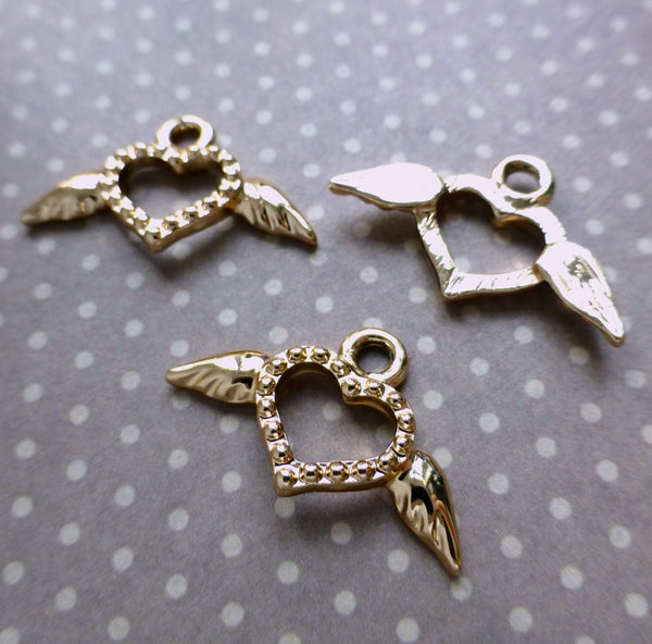 Gold Charm Heart with Wings Pack of 10