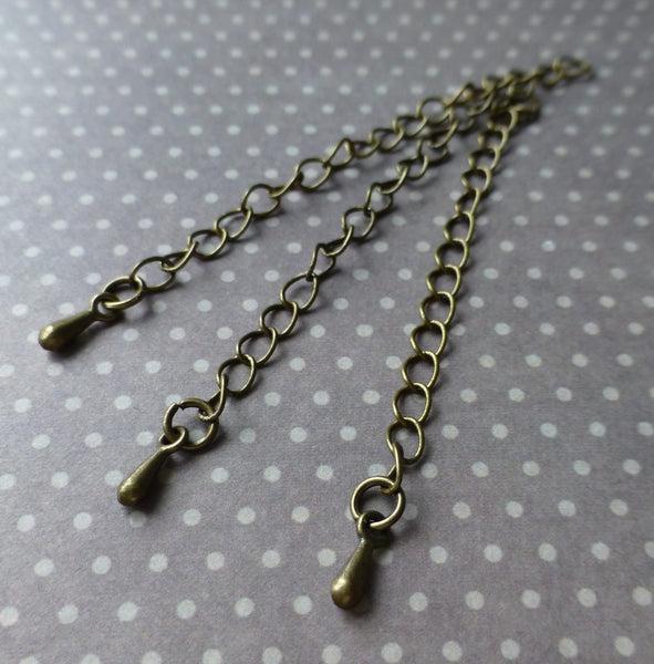Antique Bronze Extension Chain with Teardrop Pack of 20
