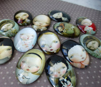 Glass Oval Cabochons Children Faces Mix Pack of 16