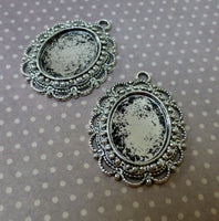 Antique Silver Solid Oval Cabochon Setting Pack of 8