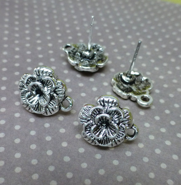 Antique Silver Rose Earrings Studs Component Pack of 10