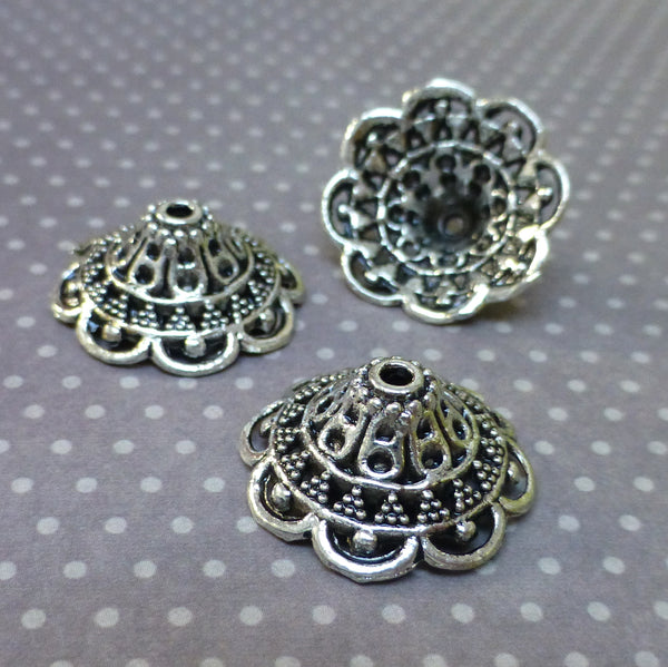 Antique Silver Large Bead Caps Pack of 20