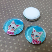 Flat Glass Cabochon with Cat Pack of 10