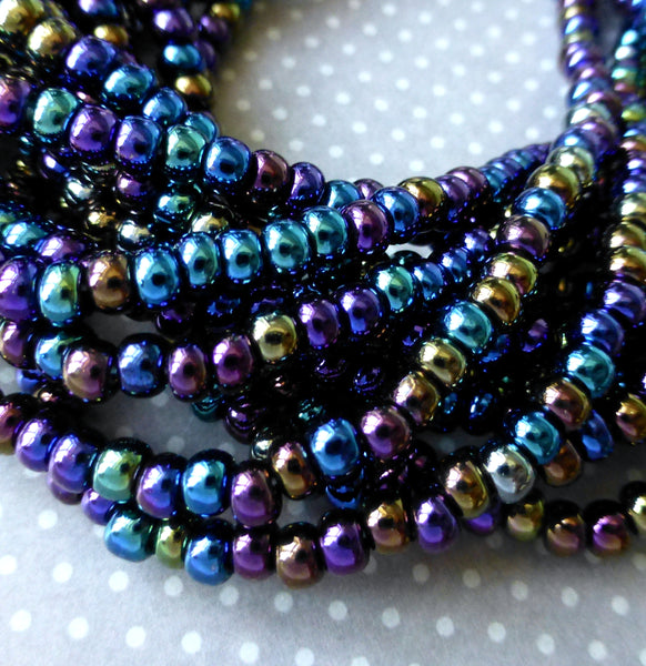Jet AB 6/0 Czech Glass Seed Beads 20 grams