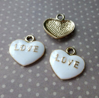Enamelled Charm White Heart Love Pack of 10
