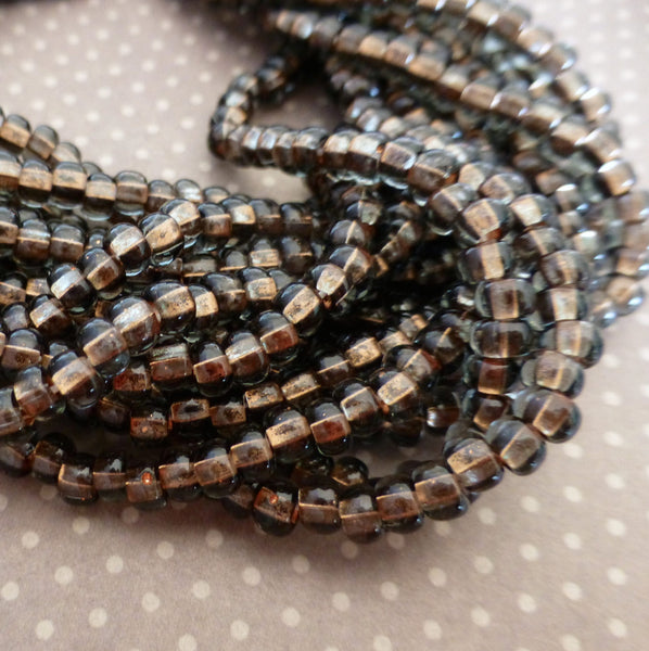 Black Diamond Copper Lined 6/0 Czech Glass 4.1 mm Beads – 6 Strands of 150 Beads